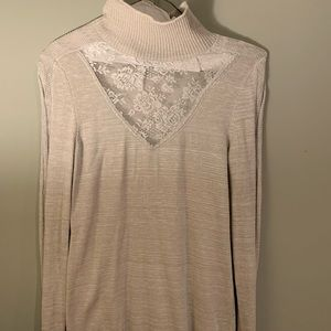 Free People Grey Lace Turtleneck Sweater, Like New
